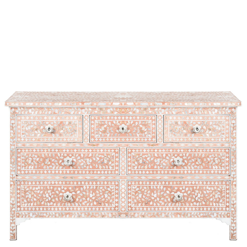 Camilla Mother of Pearl Inlay 7 Drawer Chest floral Blush