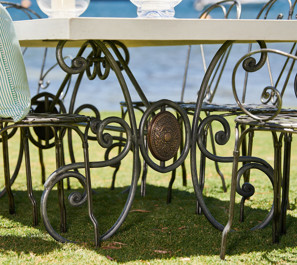 French Wrought Iron Console With Marble Top