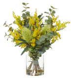 Wattle Mix in Pail Vase Yellow