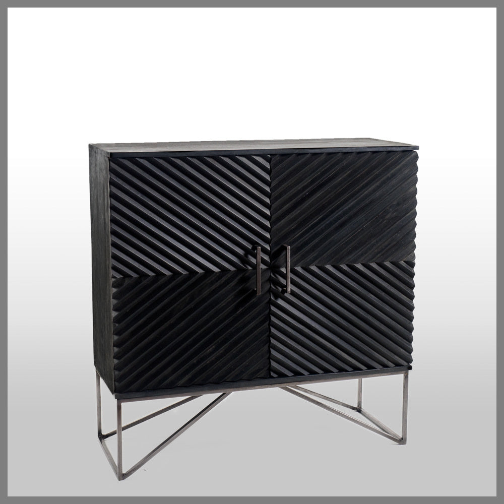 Lavani Black Wood Cabinet Pewter