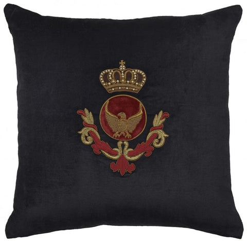 Crest Lion and Fleur De Lys Cushion Black