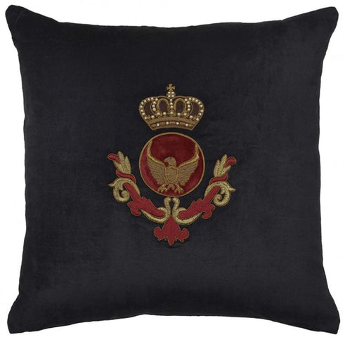Eagle Crown and Wreath Cushion Black