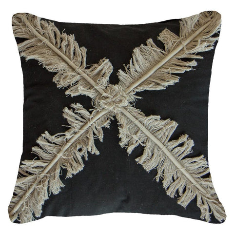 Cross Fringe Black Lounge Cushion