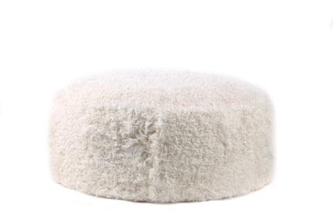 Curly Sheep Fur Ottoman Natural White