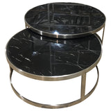 Crafers Coffee Table Set/2 Black Marblelite