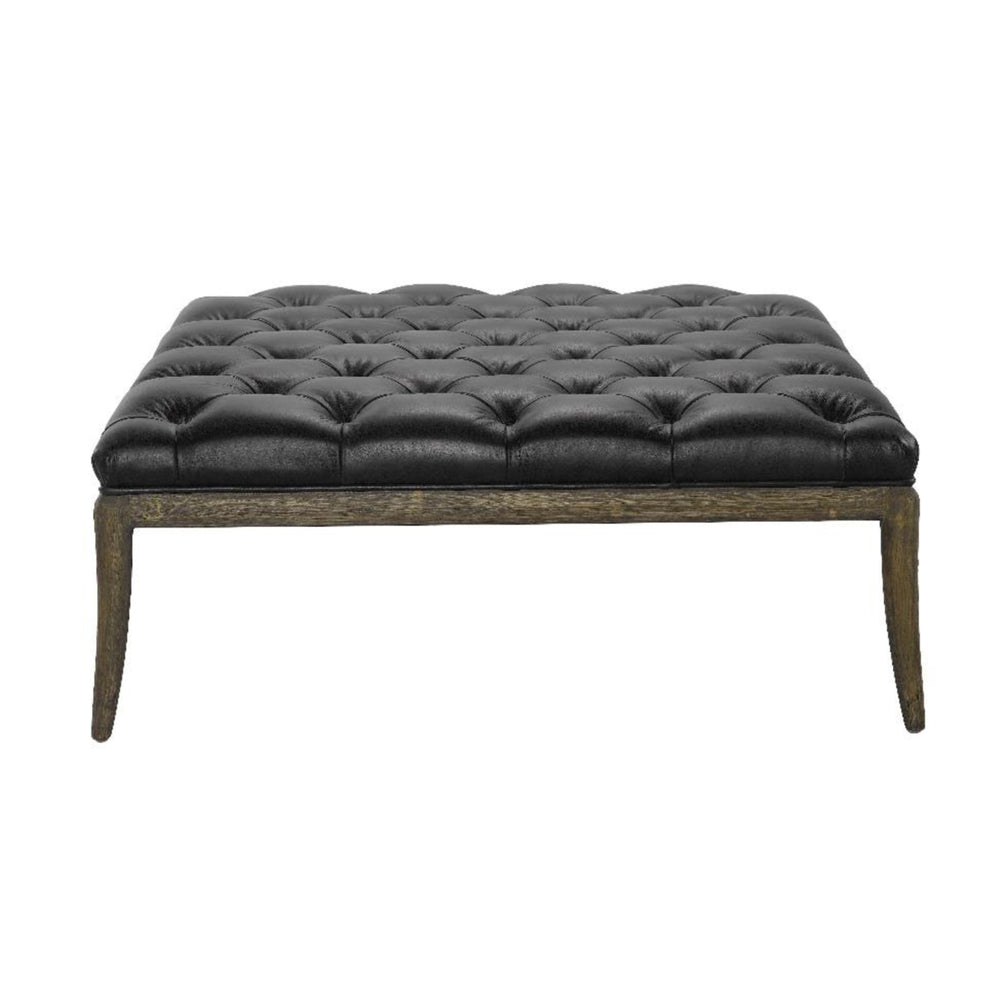 Florence Ottoman Aged Black Leather