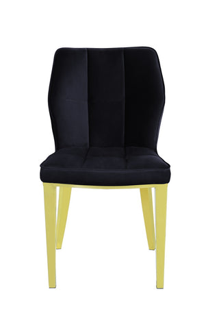 Pair of Geneve Dining Chairs Gold with Black Velvet