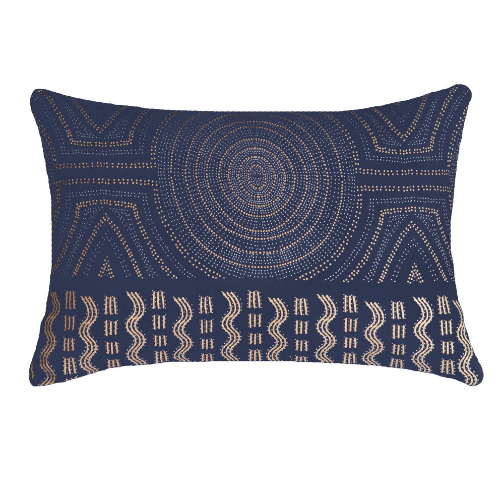 Aboriginal Dot Navy Rectangular Cushion