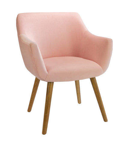 Coco Plain Velvet Dining Chair Baby Pink