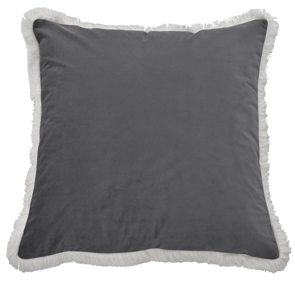Airlie Grey Cushion with White Fringing