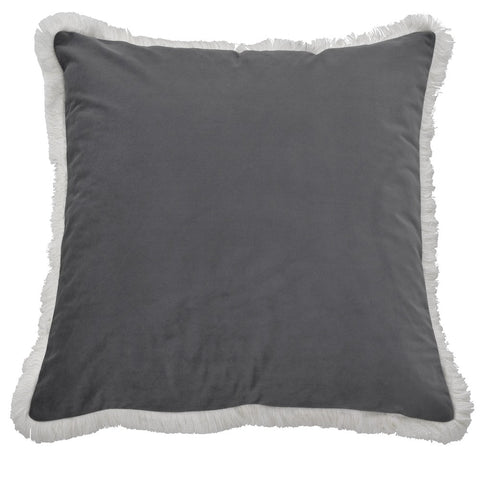 Airlie Black Cushion with White Fringing