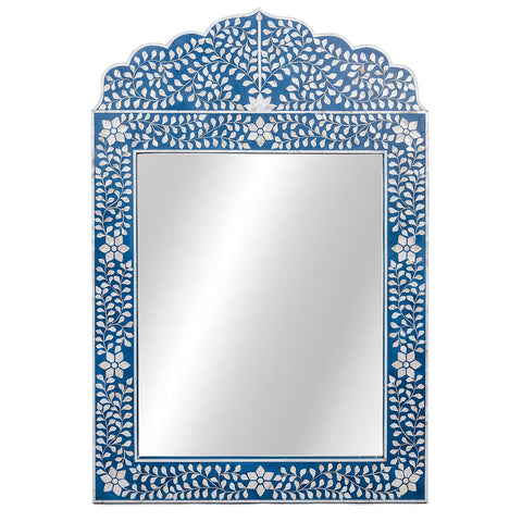 Evelyn Mother of Pearl Mirror Floral Blue