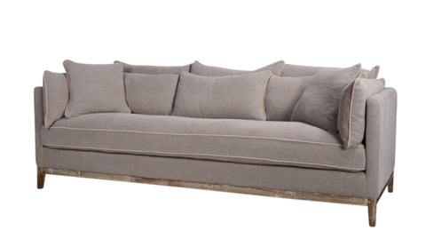 Valerie Footstool Grey and Sand Linen
