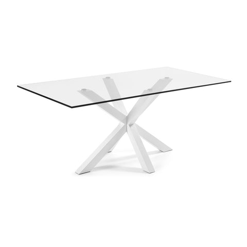 Masa Dining Table White Legs with Clear Glass