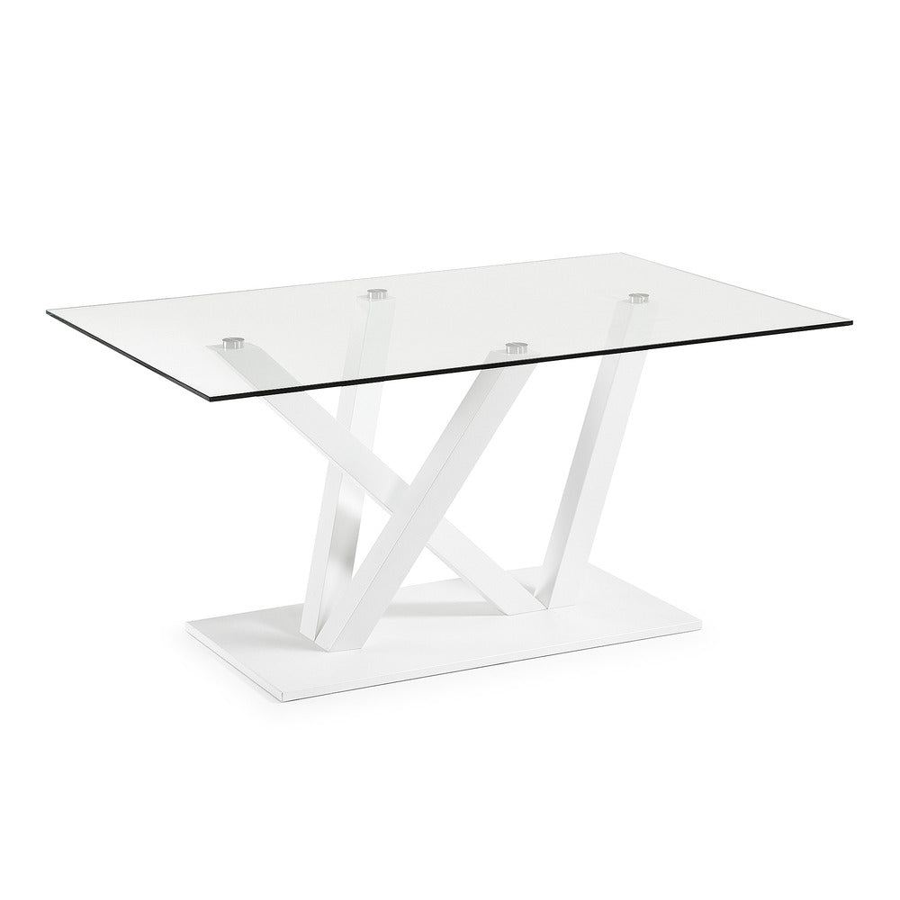 Rod Dining Table Glass with White Base