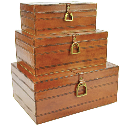 Franklin Set/3 Leather Boxes with Stirrups Light Tan