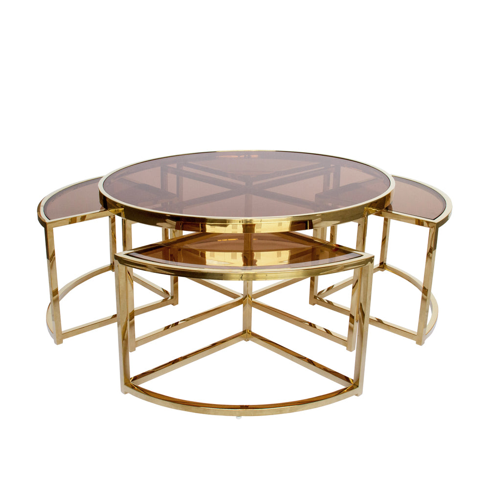 Sundance Nesting Coffee Table 5 Piece Gold with Tea Glass