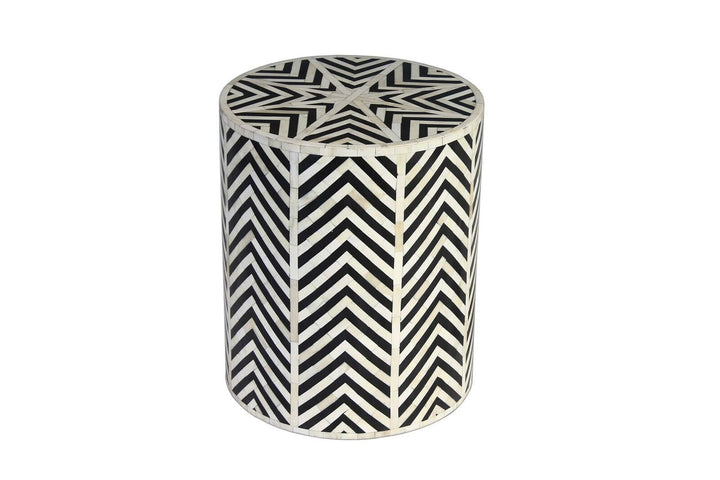 Khatri Bone Inlay Stool/Side Table Black