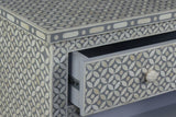 Mazum Bone Inlay Geo 4 Drawer Chest Grey