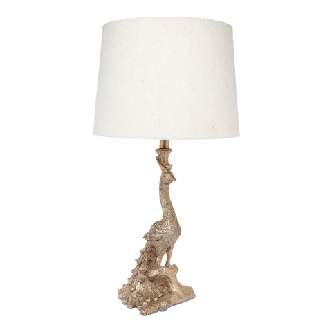 Peacock Table Lamp Antique Silver