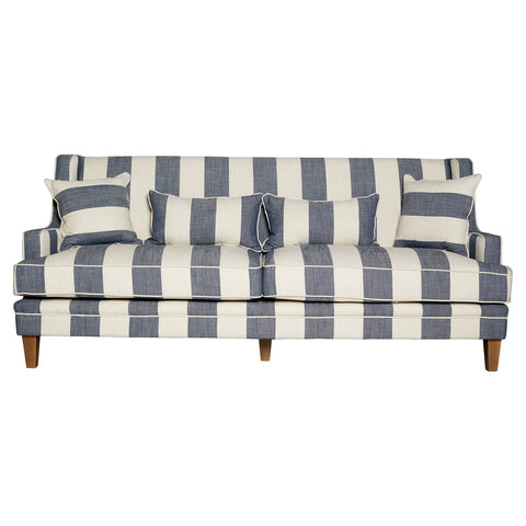 Shoreham Denim and Cream Stripe 3 Seat Sofa