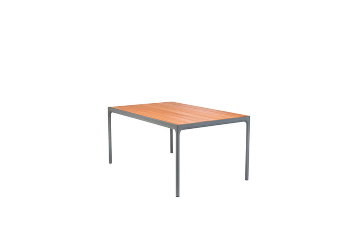 Four Dining Table Grey Frame with Bamboo Top 160cm x 90cm