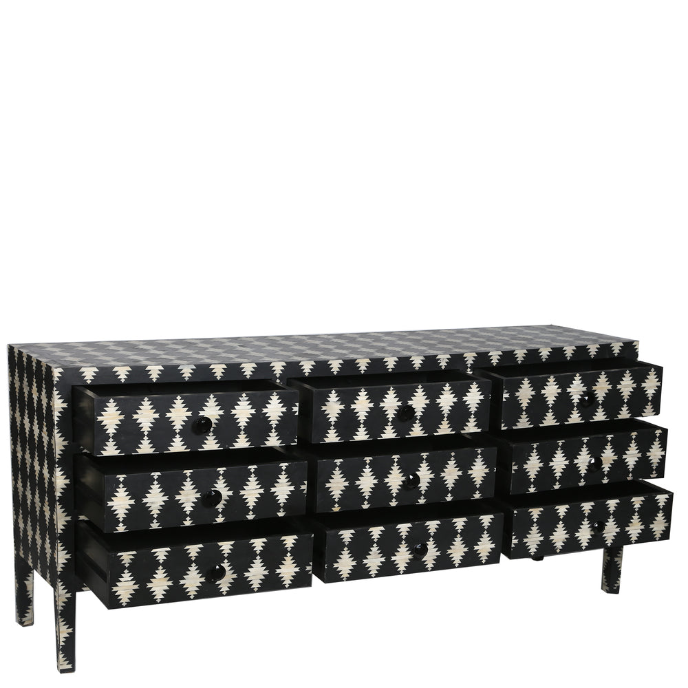 Paola Bone Inlay 9 Drawer Chest Diamond Black