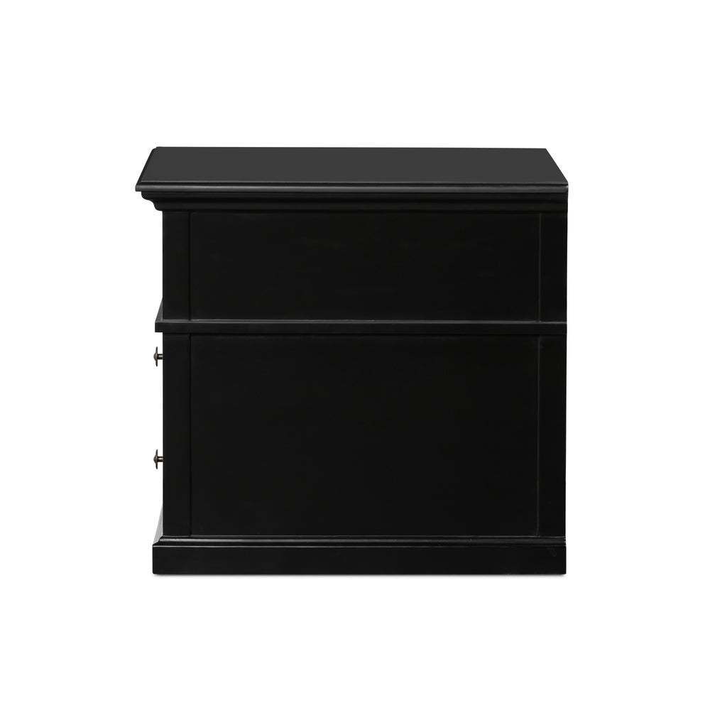 Sorrento 2 Drawer Bedside Large Black