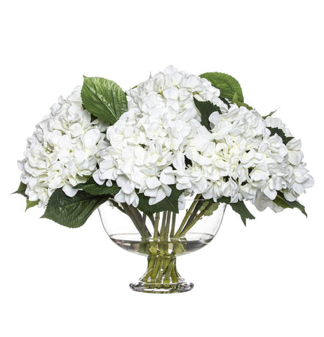 Hydrangea Mix in Dahlia Bowl White 40cmH