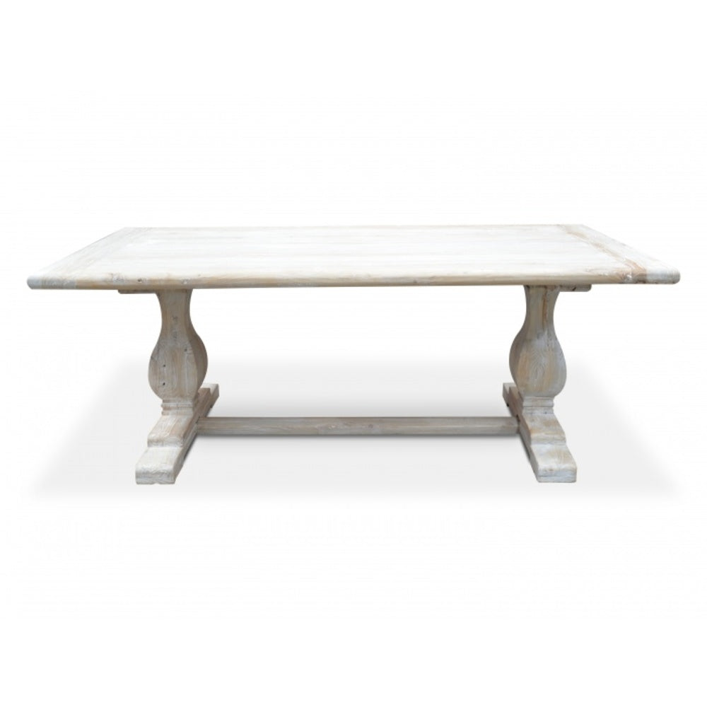 Bowral Dining Table Rustic White Washed 198cm