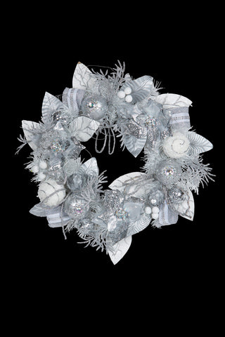 Glittery Bristle Wreath with LED 61cmDia