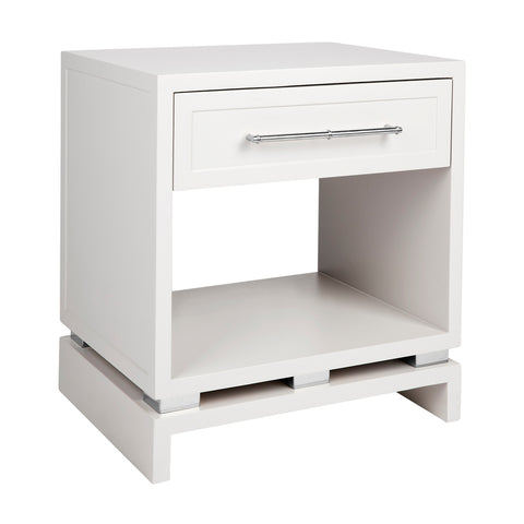 Capize Bedside Table Small White with Silver Handles