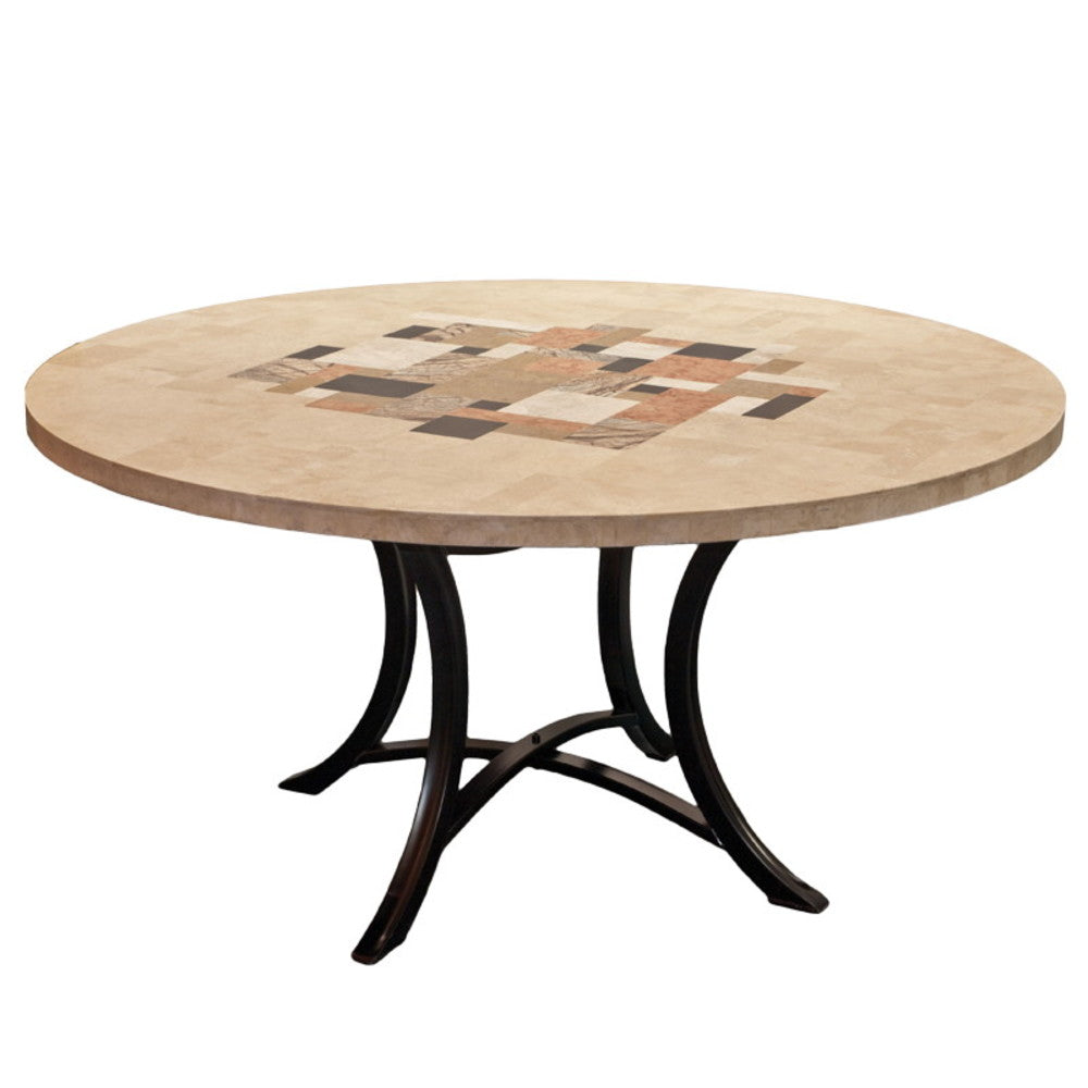 Picasso Round Travertine Outdoor Dining Table