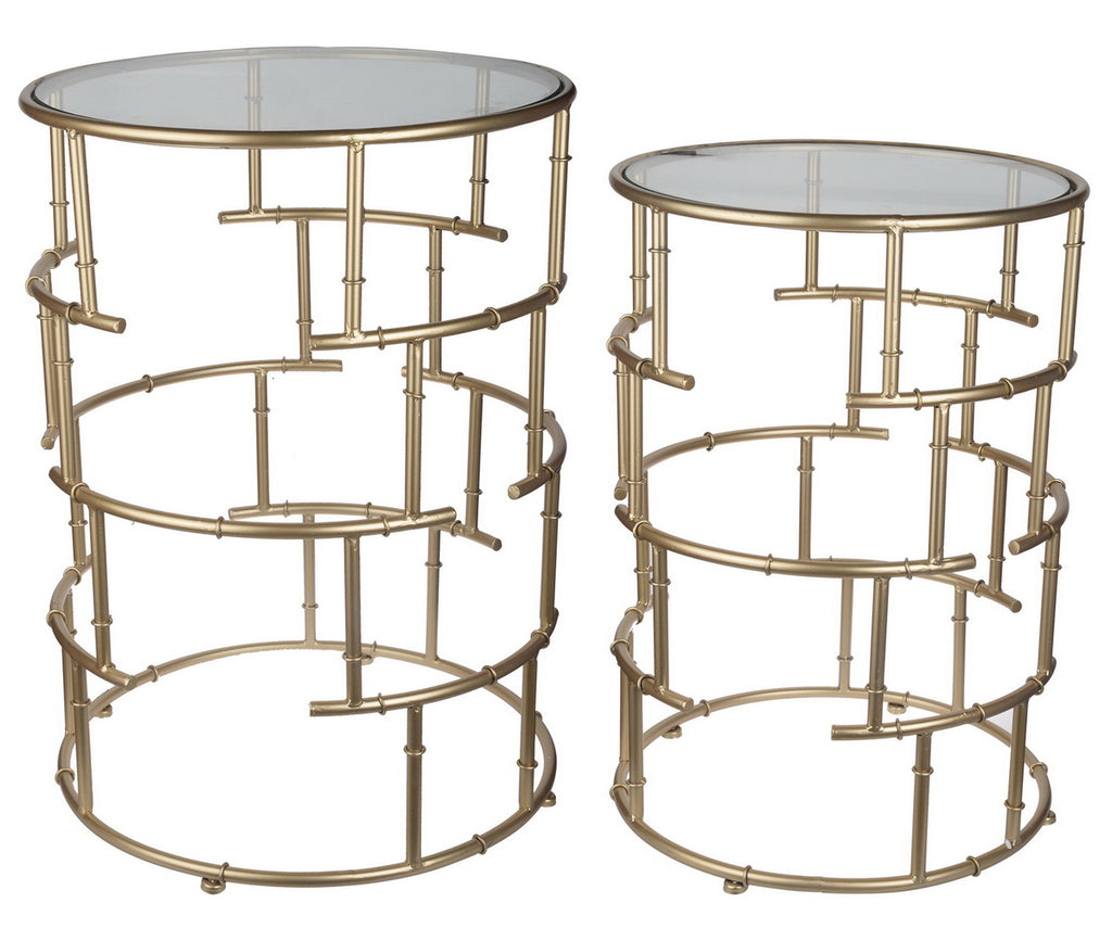 Gold Bamboo Cylinder Tables Set/2