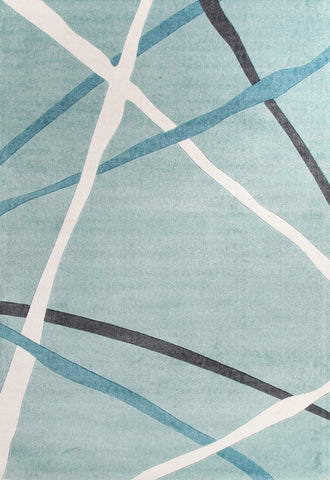 Abstract Lines Rug Blue