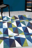 Blue and Green Crystal Design Rug