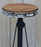 Industrial Bicycle Bar Stool with Timber Seat
