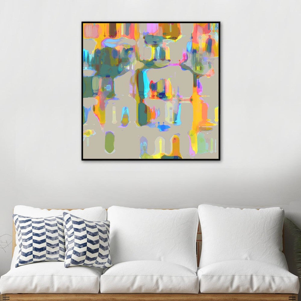 Books In Colour Canvas Print with Floating Frame