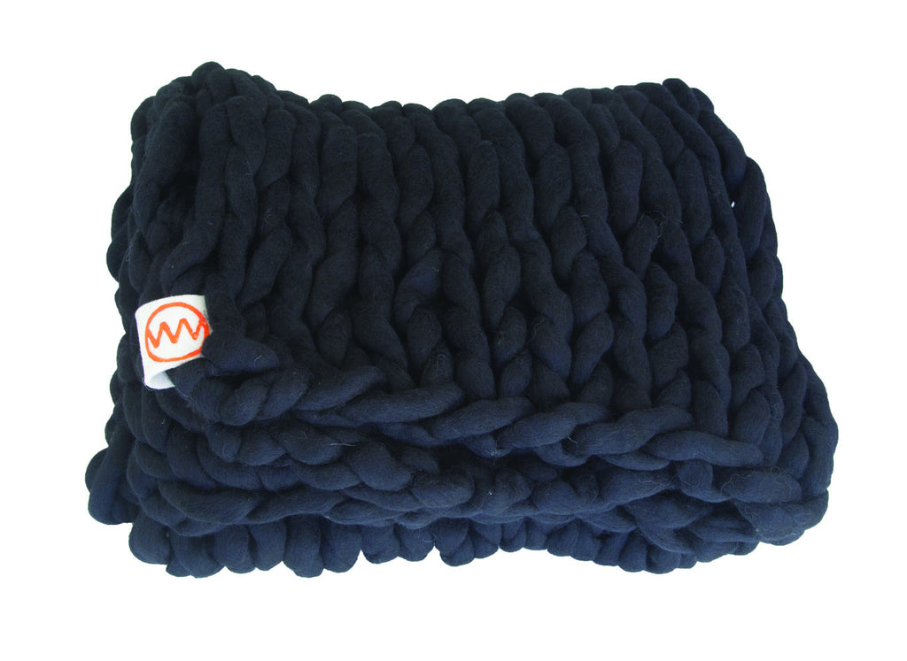 Hand Made Knitted Plaid Black