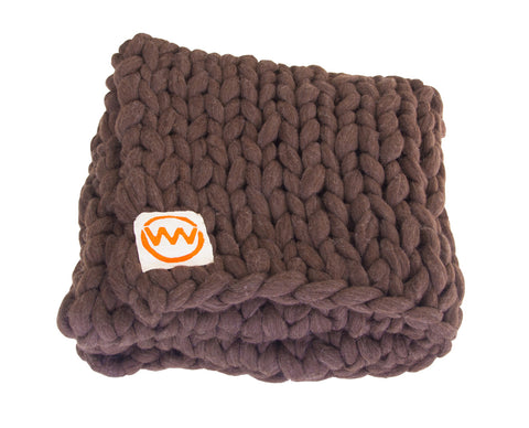 Hand Made Knitted Plaid Dark Brown