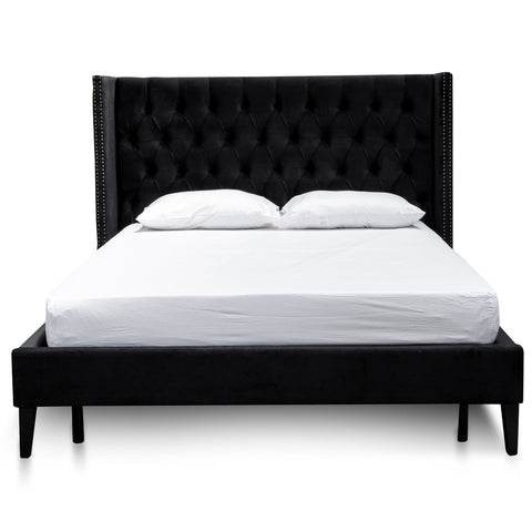 Jackson Bed Black Velvet Queen