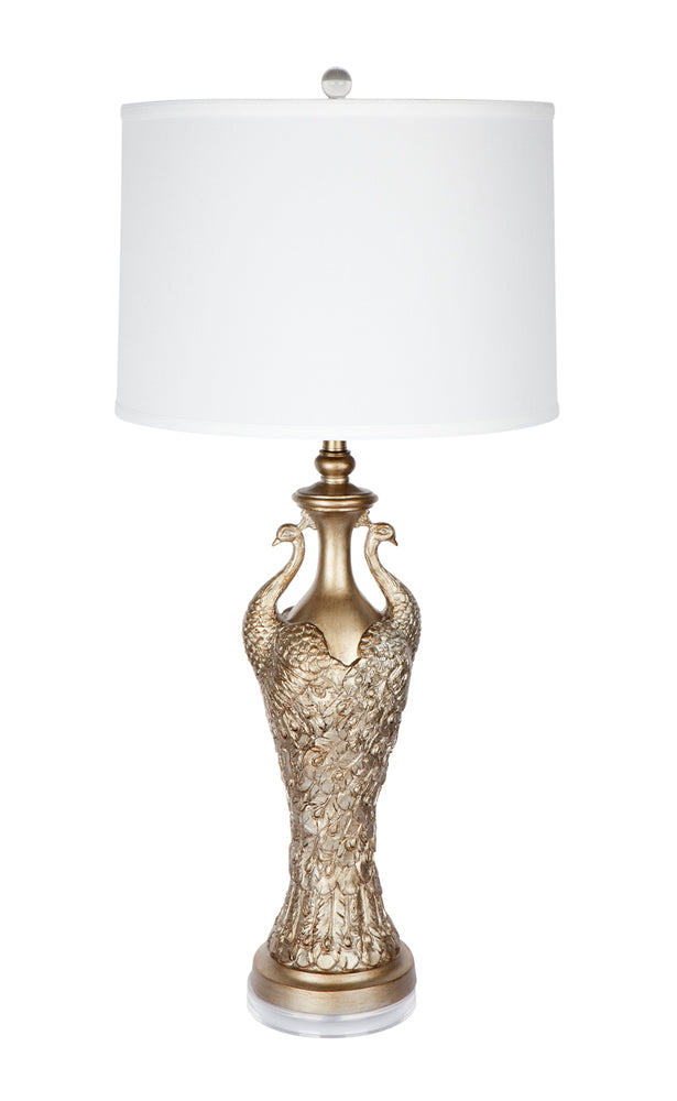 Twin Peacock Table Lamp