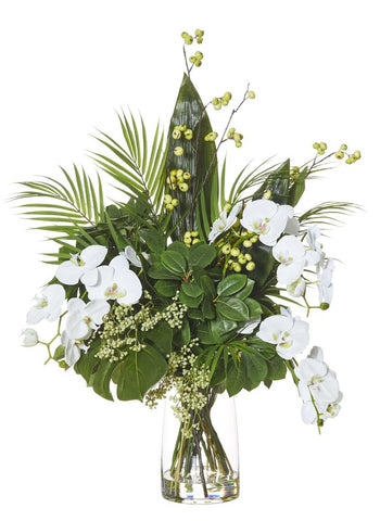 Exotic Phalaenopsis Mix in Strata Vase White