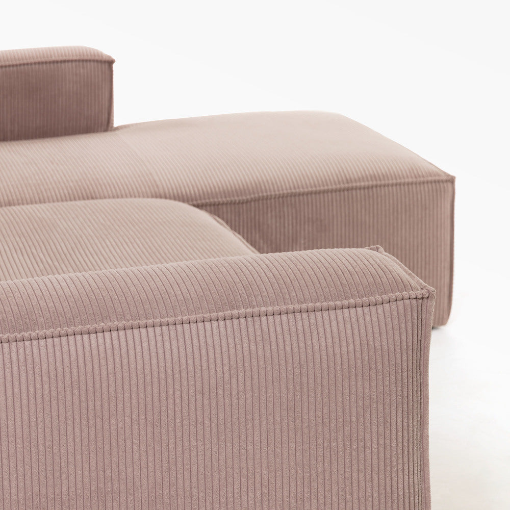 Lola Pink Corduroy Right Hand Chaise Modular Sofa