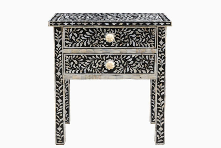 Janiki Mother of Pearl Inlay Bedside Black