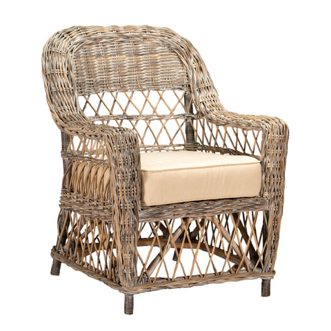 Cedros Armchair White Wash with Floral Cushions