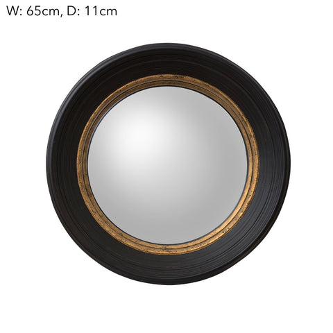 Round Convex Mirror Black Small