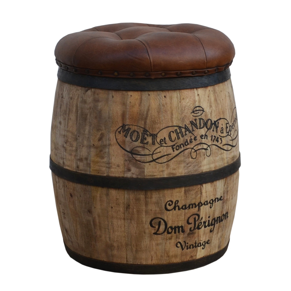 Champagne Wood and Leather Storage Stool