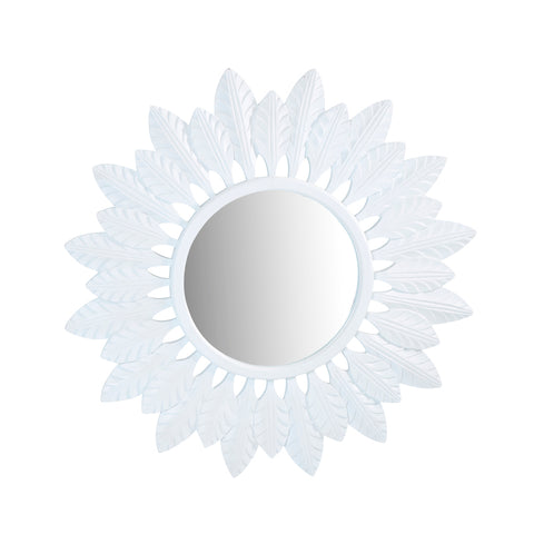 Feather Sun Mirror White