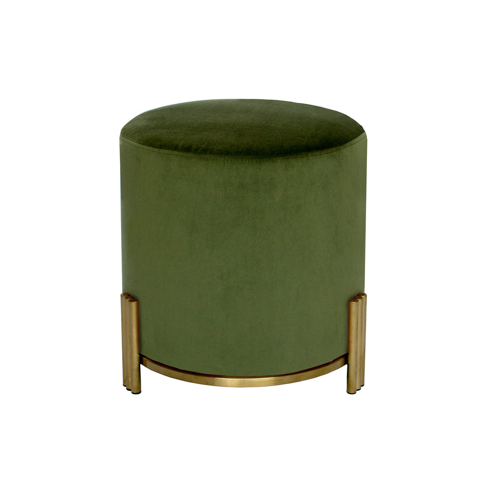 Paxton Ottoman/Low Stool Olive Green with Gold Base